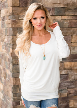 Soft and Perfect Dolman Top Ivory