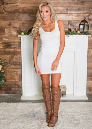 Thick Strap Long Seamless Tank Dress White
