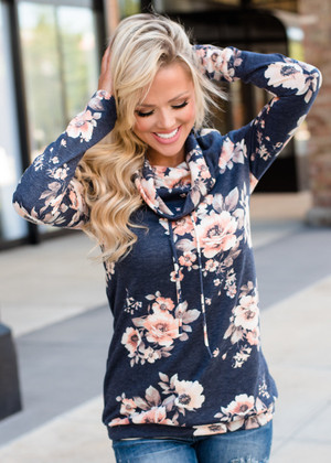 This Isn't Easy Floral Cowl Neck Top Navy