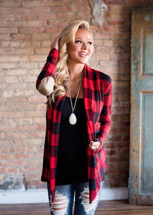 Red/Black Plaid Elbow Patch Cardigan