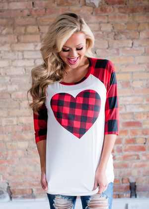 A Heart and Plaid Baseball Top CLEARANCE