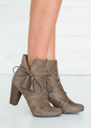 Time to Go Suede Lace Up Booties Taupe CLEARANCE