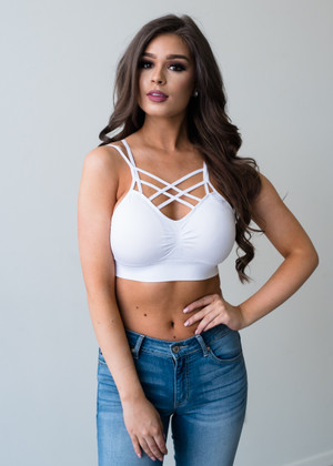 Criss Cross Sports Bra White CLEARANCE