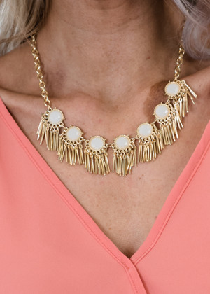 Sticks and Stones Necklace Gold/Ivory CLEARANCE