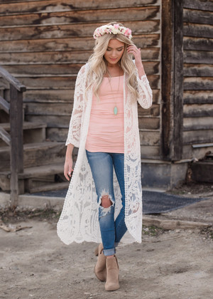Just Close Your Eyes Long Embroidered Lace Kimono Ivory CLEARANCE