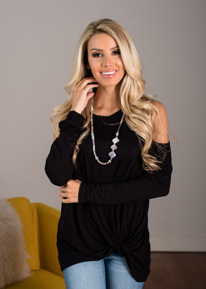 Twisty Open Shoulder Top Black