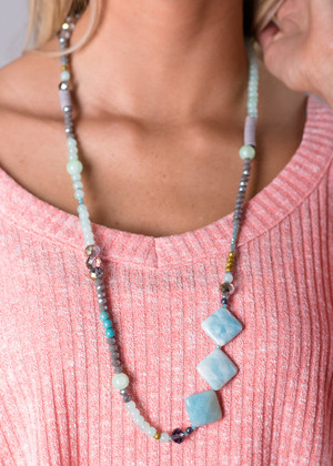 Third Time's a Charm Necklace Teal CLEARANCE