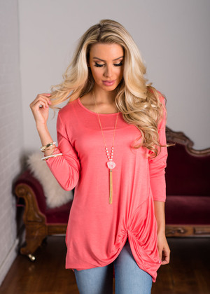 Makes Me Happy Twist 3/4 Sleeve Top Coral CLEARANCE