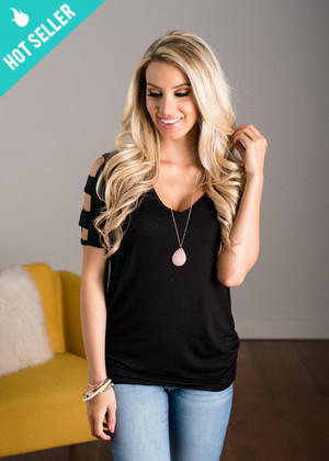 Open Pattern Sleeve Top Black CLEARANCE