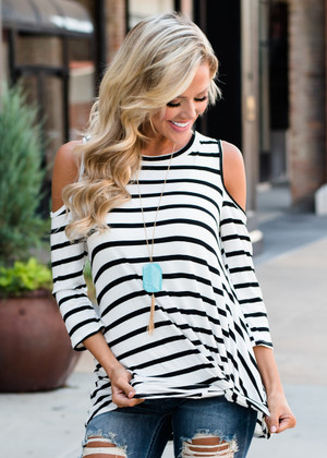 Wild and Free Open Shoulder Knotted Striped Top White