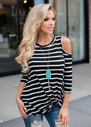 Wild and Free Open Shoulder Knotted Striped Top Black