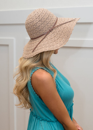 Khaki Lace Floppy Hat CLEARANCE