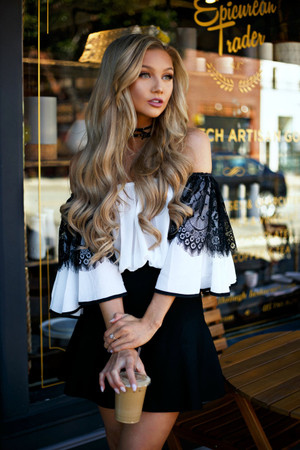 Over the Shoulder Flare Lace Top Off White CLEARANCE