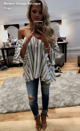 Chambray Striped Bubble Off Shoulder Top
