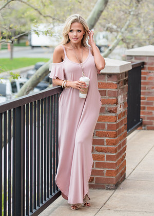 Southern Sass Open Shoulder Maxi Mauve CLEARANCE