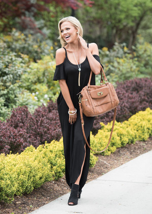 Southern Sass Open Shoulder Maxi Black CLEARANCE