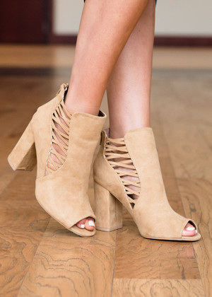Say the Word Open Toe Booties Tan CLEARANCE