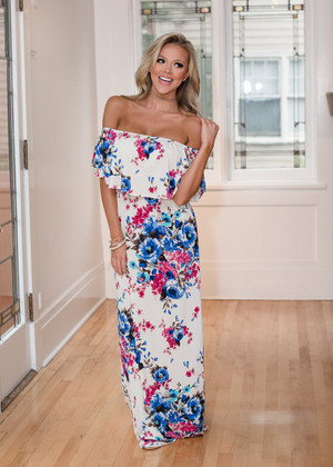 Who I Am Floral Off Shoulder Ruffle Maxi Dress Ivory
