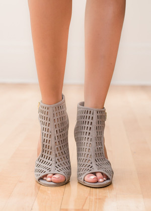 Alone Tonight Cut Out Heels Taupe