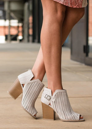 Out and About Criss Cross Laser Cut Booties Oatmeal CLEARANCE