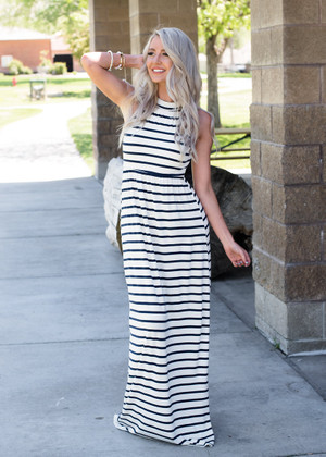 I'm Your's Striped Halter Style Maxi Dress Navy CLEARANCE