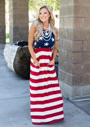 Can't You See Maxi Dress Red/White/Blue