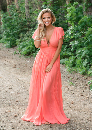 Ruffle Pleated Detail Maxi Dress Coral