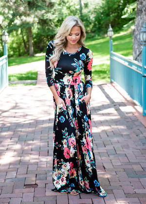 Floral Magic Pocket Maxi Black