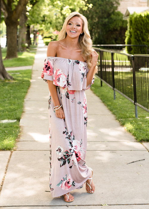 cbfc66280ead I Believe In You Off Shoulder Ruffle Floral Maxi Dress - Modern ...
