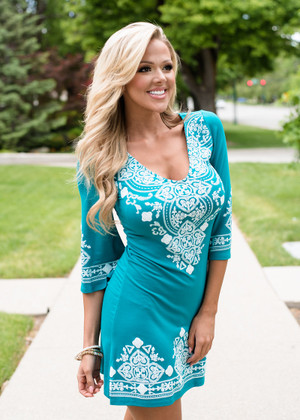 Instant Favorite Embroidered Dress Jade CLEARANCE