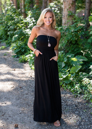 Let's Just Disappear Tube Top Maxi Black