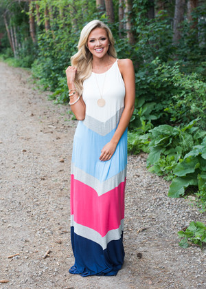 I Thought I Had You Color Block Chevron Dress CLEARANCE