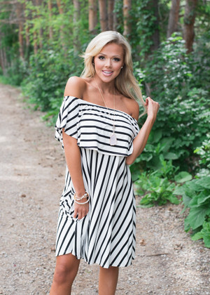 Striped Ruffle Off Shoulder Rayon Dress Ivory/Black