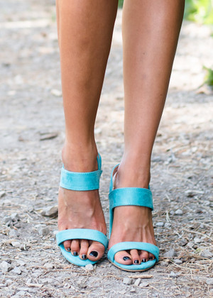 Walk On By Heel Sandals Turquoise CLEARANCE