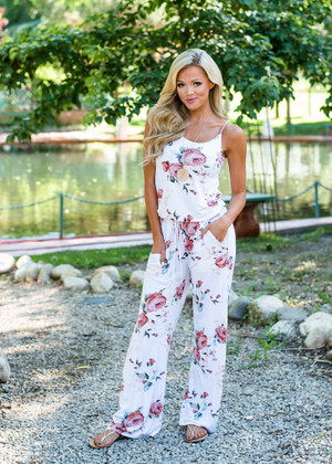 Radiant Floral Print Tie Jumpsuit Ivory CLEARANCE