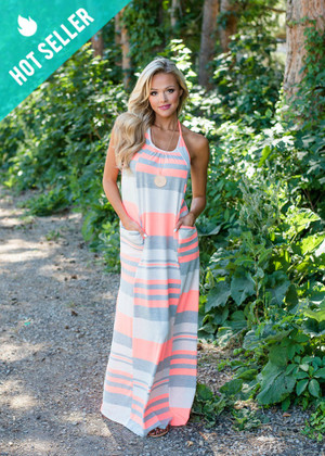 Neon Coral Color Block Stripe Pocket Maxi