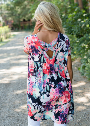 A Little Bit Longer Floral Crossed Back Top Navy