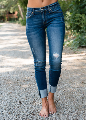 Dark Distressed Rolled Kan Can Jeans  CLEARANCE