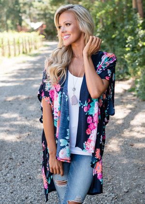 Colorful Floral High Low Kimono Navy