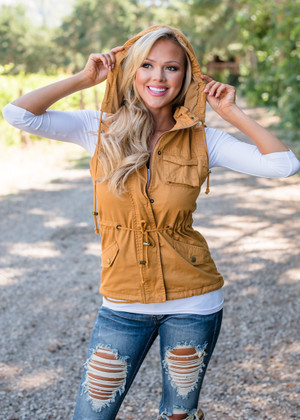 Never One To Lose Hooded Cargo Vest Mustard