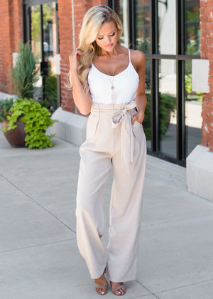 Now or Never Tie Pant Jumper White/Taupe