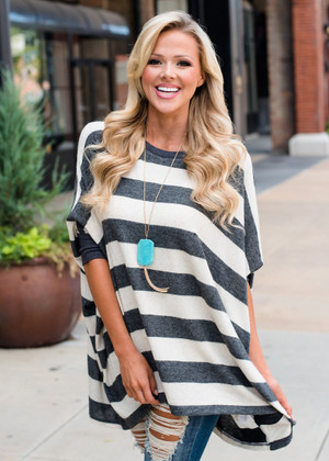 Oversized Charcoal/Oat Striped Dolman Style Sweater Top