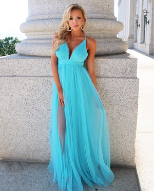 It Comes Naturally Sheer Blue Maxi Dress