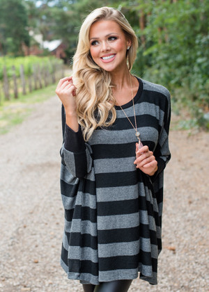Oversized Striped Dolman Style Sweater Top Black