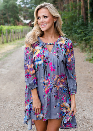High Low Floral Bubble Sleeve Tunic/Dress Charcoal