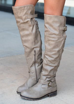 Taupe Tall Knee High Boots CLEARANCE