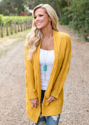 Your Night Cable Knit Detailed Sweater Mustard