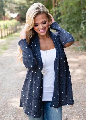 Make It Known Polka Dot Elbow Patch Cardigan Navy CLEARANCE