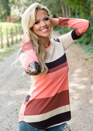 Love Me or Love Me Not Striped Sequins Elbow Patch Top Rust