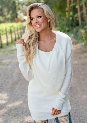 Blissful Knit Cowl Neck Sweater Tunic Ivory CLEARANCE